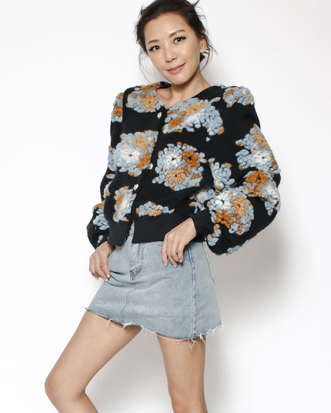 black wool blended flowers knitted cropped jacket