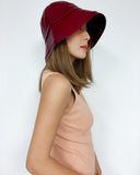 burgundy PU leather bucket hat