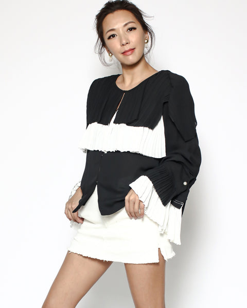 black & ivory pleats chiffon top