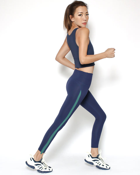 navy with green panel sports midi leggings *pre-order*