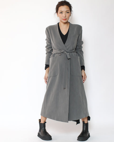 grey blazer jacket with belt *pre-order*