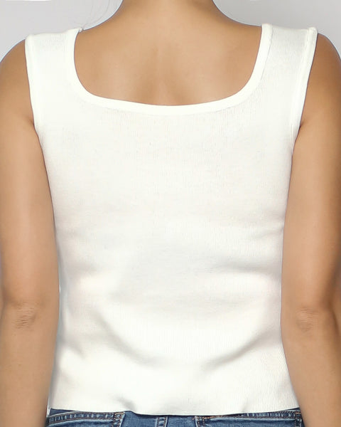 ivory square neck knitted basic vest *pre-order*