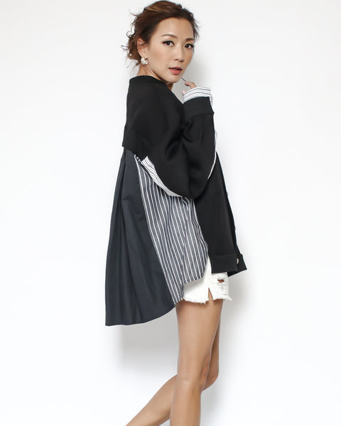 black neoprene with stripes & shirt back jacket *pre-order*