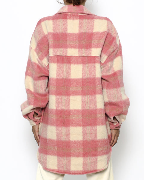 pink & ivory wool blended shirt