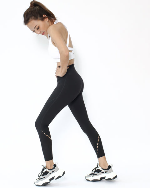 black cutout details ankle length leggings *pre-order*