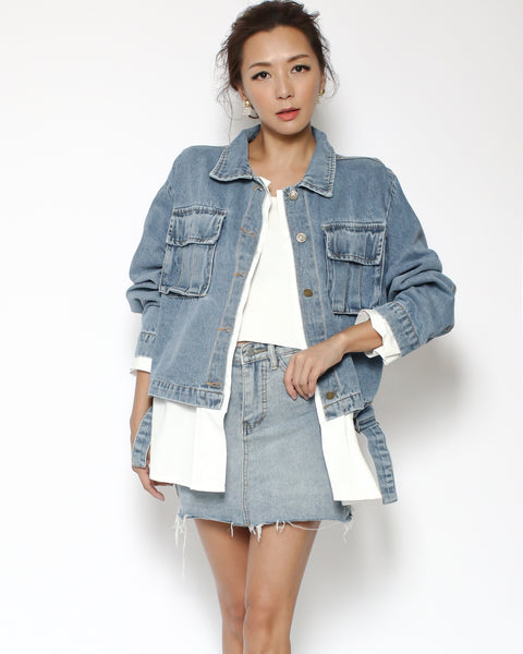 denim & white shirt jacket *pre-order*