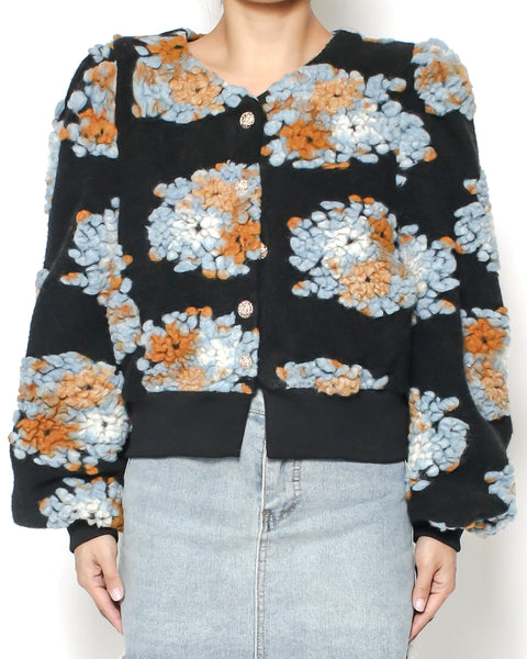 black wool blended flowers knitted cropped jacket *pre-order*