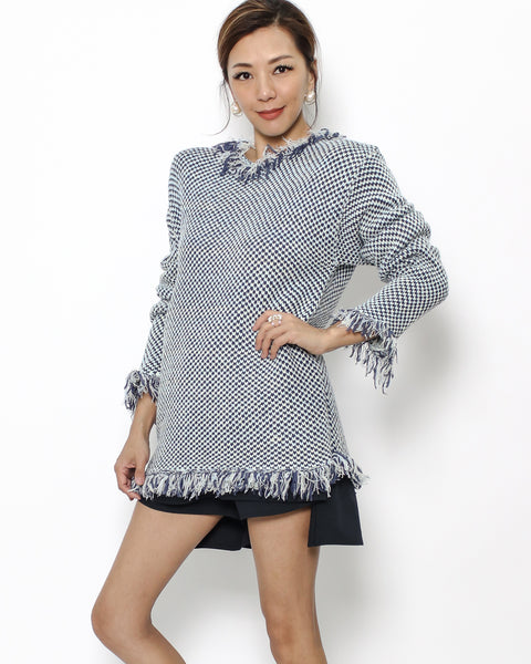 blue tweed knitted tassels longline top