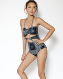 black banana printed cutout tie-up front one piece swimsuit *pre-order*