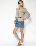 beige PU leather box cross body bag *pre-order*