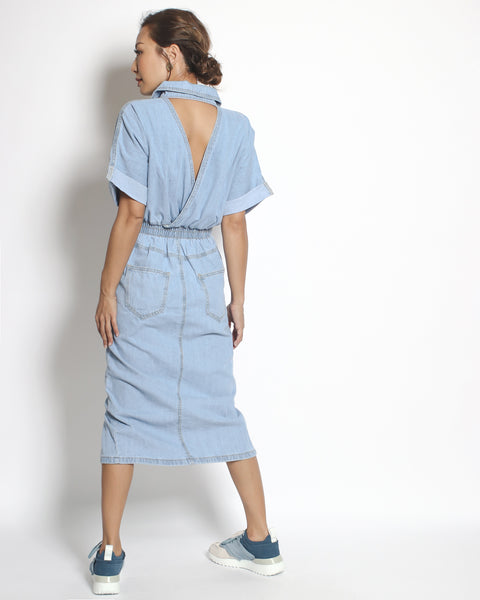 light denim cutout back midi length dress *pre-order*