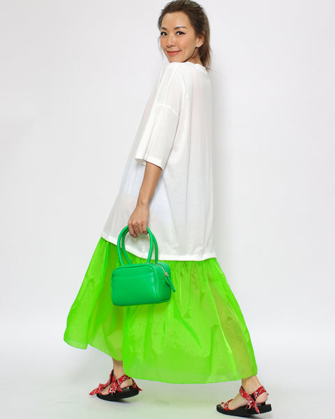 ivory tee & tech neon green frill cover up dress