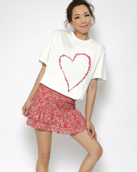 ivory red pearls heart tee *pre-order*