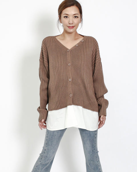 brown knitted with ivory shirt hem contrast top *pre-order*