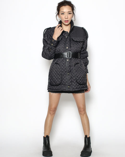black quilted gown jacket with belt