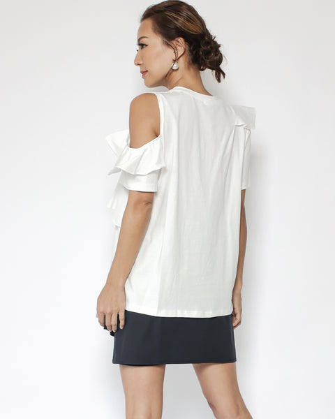 ivory ruffles with net cutout shoulder tee *pre-order*