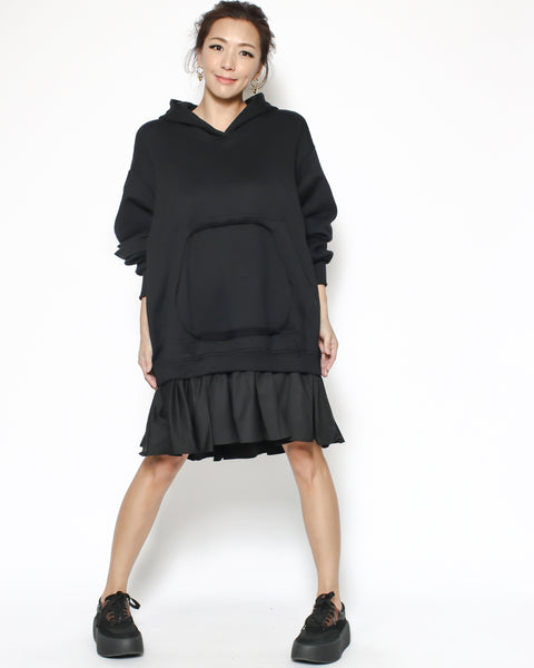 black hoodie sweatshirt & shirt hem dress