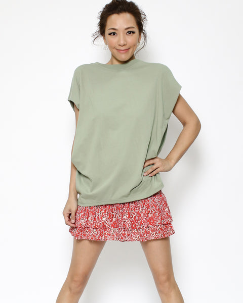 green ruched side tee *pre-order*