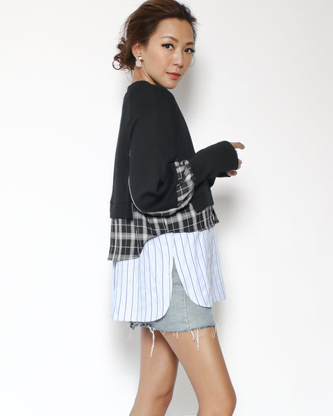 black sweat with checkers & stripes contrast top