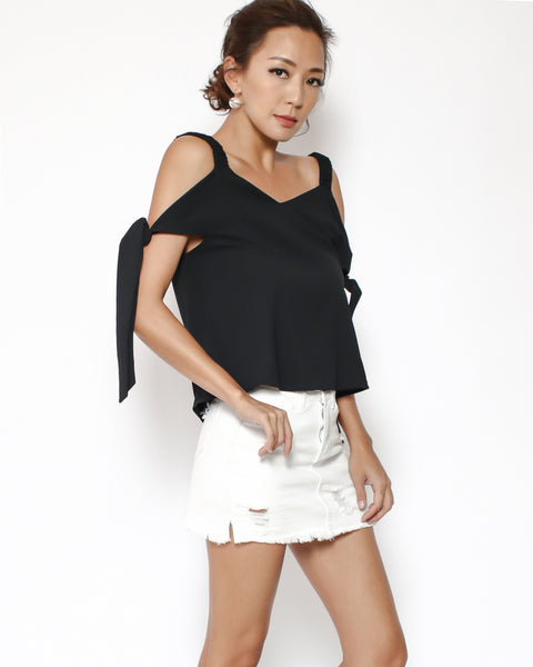 black cutout shoulders tie-up sides crepe top