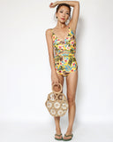 yellow floral wrapped one piece swimsuit *pre-order*