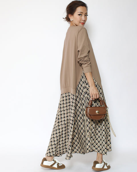 beige tee with slinky pattern dress