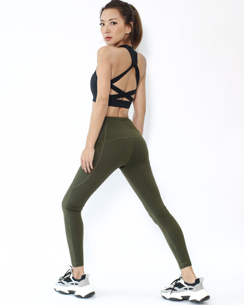 olive green seams sports ankle length leggings with pockets *pre-order*