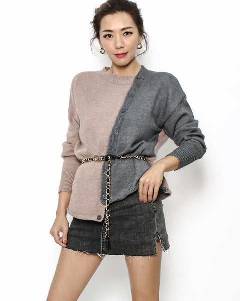 beige & grey knitted top with belt *pre-order*