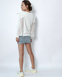 ivory fine knitted with ruffles & chiffon sleeves top *pre-order*
