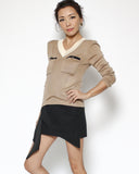 beige fine knitted pockets top