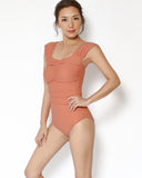 salmon ruched one piece swimsuit *pre-order*