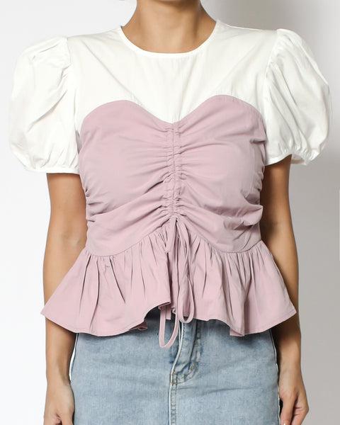 ivory with pink ruched front ruffles hem shirt contrast top