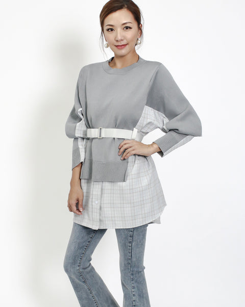 grey fine knitted with cotton checkers contrast top with belt