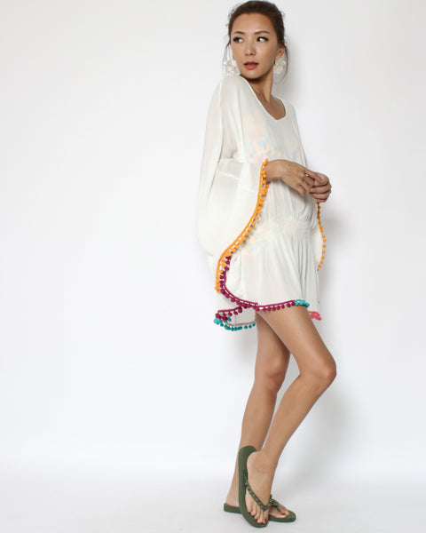 ivory colours pom pom trim beach cover-up *pre-order*