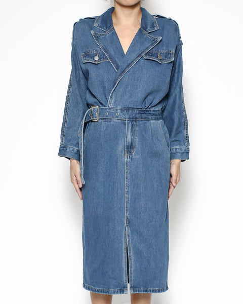 denim midi dress with belt *pre-order*
