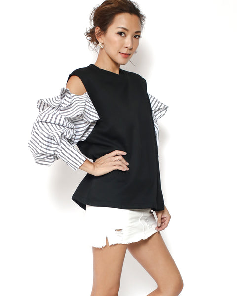 black sweat with cutout shoulders & black stripes shirt sleeves *pre-order*