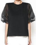 black tee with puff organza sleeves