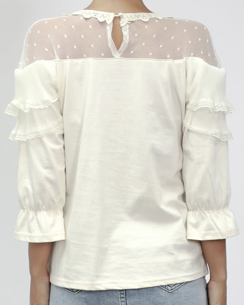 ivory polka dots sheer shoudlers with pleats ruffles top