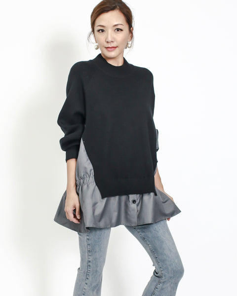 black knitted with grey shirt contrast top *pre-order*