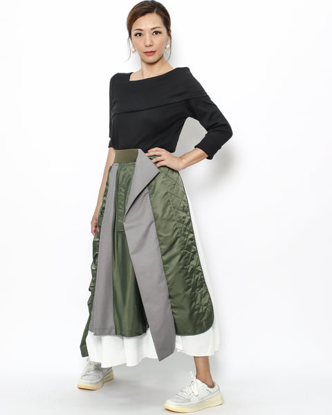 olive green grey & ivory skirt *pre-order*
