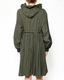 black neoprene & green pleats hoodie dress *pre-order*