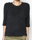 black texture mid sleeves top