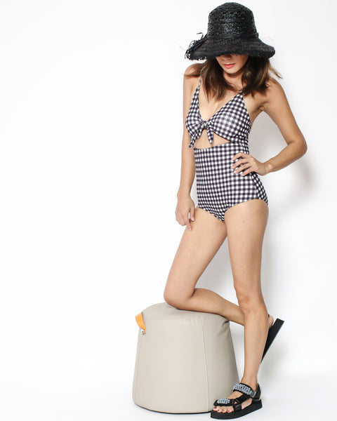 black gingham cutout front one piece swimsuit *pre-order*