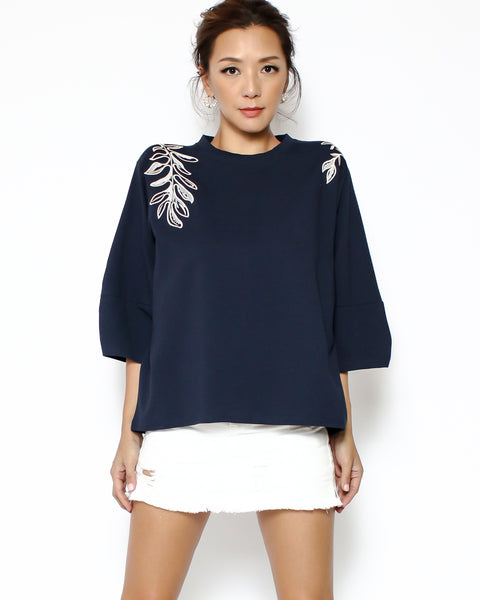 navy tee with embroidered front top