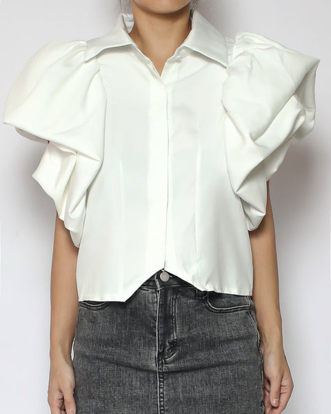 ivory ruffles sleeves cropped shirt *pre-order*