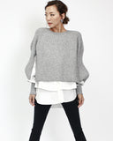 grey knitted top with white shirt layers *pre-order*