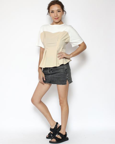 ivory with beige corset contrast pleats tee