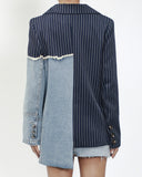 navy strieps with denim contrast blazer *pre-order*