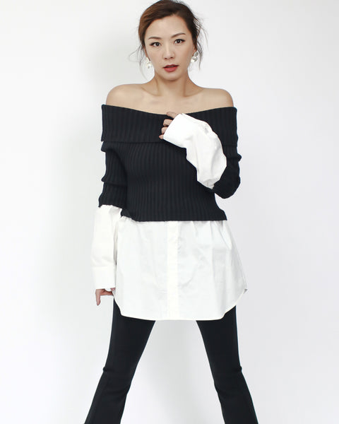 black knitted with ivory shirt off shoulders top