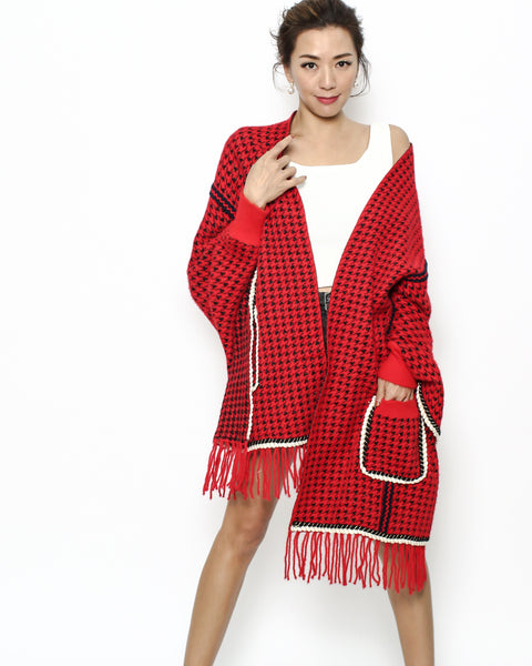red checkers knitted tassels poncho *pre-order*